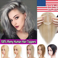 AAAA+ Clip In Hair Topper For Women 100% Remy Human Hair Top Piece US Stock