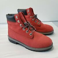 Timberland Leather Winter Boots Red 9498R 2730 Boys Size 6.5