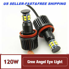 NEW H8 120W 6 Sides CREE LED Angel Eyes Halo Ring Light Bulbs HID White For BMW