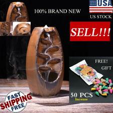Ceramic Glaze Waterfall Backflow Smoke Incense Burner Censer Holder 50 Cone Home