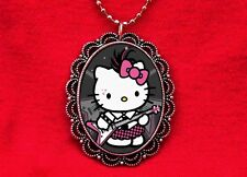 HELLO PUNK KITTY CAT GUITAR PENDANT NECKLACE KAWAII EMO