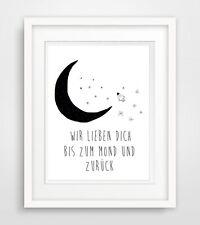 wir lieben Dich bis zum Mond und zurück - Baby Zimmer Spruch poster druck plakat
