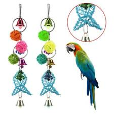 New listing Pet Bird Parrot Cage Hanging Toys Pendant Rattan Fish Shape Chewing Toy w/ Ball
