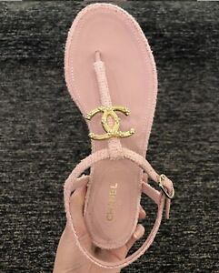 Authentic CHANEL w RECEIPT 39 Pink Tweed CC Logo Thong Slides Shoes Slippers