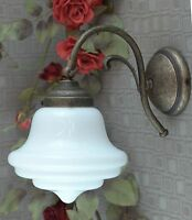 Wandlampe Jugendstil Wandleuchte Messing Lampe Antik Tropfen Glas Art déco edel