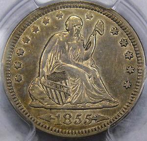 "1855 ""Arrows"" Seated Liberty Quarter Dollar PCGS Choice AU-50... Flashy & NICE!!"
