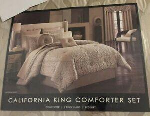 J Queen New York Astoria Sand 4 Piece California King Comforter Set NWT