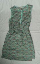 #A081 Womens Girls Forever 21 Summer Sleeveless Green Floral Dress XS pretty