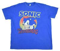 VTG Blue SEGA Sonic The Hedgehog Graphic Short Sleeve Crew Neck T Shirt Size XL