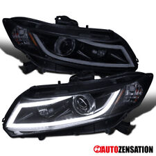 For 2012-2015 Civic Glossy Black Projector Headlights+White LED DRL Light Bar