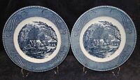 "Currier Ives Royal China Old Grist Mill Dinner Plates 10"" Set of 2 Excellent"