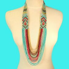 "34"" Waterfall Turquoise Coral Multi Strand Handmade Seed Bead Statement Necklace"