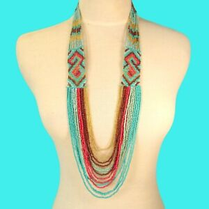 """34"""" Waterfall Turquoise Coral Multi Strand Handmade Seed Bead Statement Necklace"""