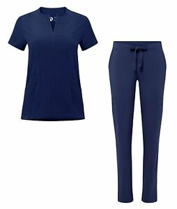 Adar Scrub Set for Women - Bib Front Smock Scrub Top & Skinny Cargo Scrub Pants