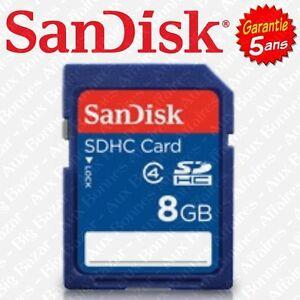 Carte Mémoire SD SANDISK 8 Gb Go SDHC ( disponible aussi en 16 32 ou 64 Giga )