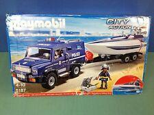 (O5187) playmobil 4x4 + bateau police ref 5187 en boite complète
