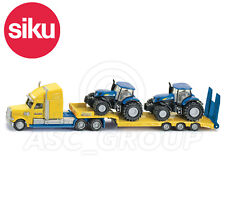 SIKU NO.1805 1:87 HGV Low Loader TRUCK & 2 NEW HOLLAND TRACTORS Dicast Model Toy