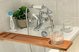 Bath Board / Tray; Solid Beech wood; With Soap, Candle/Drink & Tablet Holder