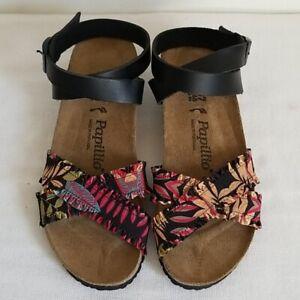 New Birkenstock Papillio Wedge Sandals Lola Frill Floral Size US 6 EU 37