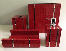 Red Croc Embossed Leather 4-Piece Bath Set; Waste basket, Pump, Tissue , & Towel