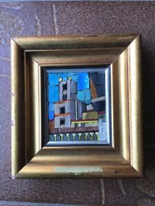 Special Picture THE CLOISTER Italy glass mosaic with gold 1996 Monreale Sicily