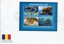 Chad 2018 FDC Aquatic Water Dinosaurs 4v M/S Cover Stamps