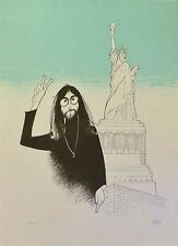 "AL HIRSCHFELD Beatles ""John Lennon in New York Peace and Liberty"" HAND SIGNED"