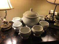 Pillivuyt-2.5 Quart Tureen & (6) 1.5 Cup Sm Tureens/Soup Bowls-Porcelain-FRENCH!