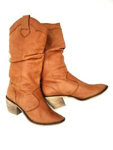 Steve Madden 10 Camel Tan Genuine Leather Country Western Pull Up Cowboy Boots