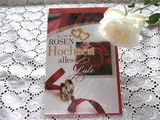 Glückwunschkarte Rosenhochzeit 10 Jahre Rose Rot Gold Ringe Herzen Alles Gute