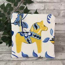 Swedish Dala Horse Yellow Blue White Dalahäst  Kurbits Zipper Pouch Makeup Bag