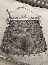Antico Art Deco Argento Sterling Mesh Cotta di Maglia Evening Bag Purse e catena 91g