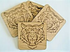 Wooden Tiger Coasters- set of 4 Christmas Gift Beer Mat Drink Mat Birthday