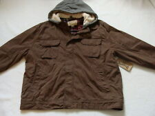 NWT Men's Cotton Bomber Jacket Size XXL Brown Work Coat Hooded Lined Hoodie NEW