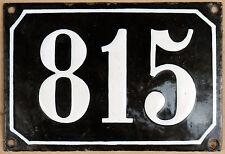 Large old black French house number 815 door gate plate plaque enamel metal sign