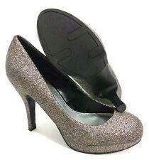 Fergalicious Platform Pumps Womens 7 Heels Silver Glitter Sparkle Nelly