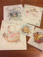 Vintage Cards, Lot Of 5 Wedding, Shower, Baby, Sparkle, 1950s Detailed Cards S01