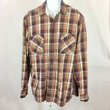 Lucky Brand Mens Shirt Long Sleeve Button Down Size Large Brown Plaid