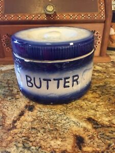 Vintage Stoneware Butter Crock With Lid, Pretty Blue & White Glazed, Cows