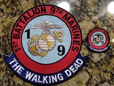 "10"" 1st Battalion 9th Marines The Walking Dead Jacket Patch & 3"" Patch Iron - On"