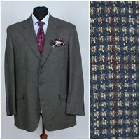 Mens TAILOR&SON SIZE UK 42R Blue Check Wool Silk Sport Coat Blazer Jacket