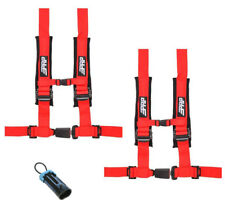 """PRP 4 Point 2"""" Harness Seat Belts Automotive Style Latch Red Polaris RZR All"""