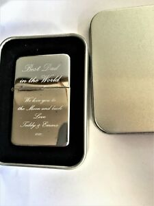 ENGRAVED PETROL LIGHTER BEST DAD DADDY FATHERS DAY XMAS PERSONALISED GIFT UK
