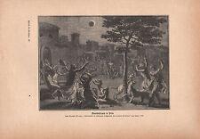 1903 ASTRONOMY GERMAN PRINT ~ LUNAR ECLIPSE IN PERU RELIGIOUS CEREMONIES