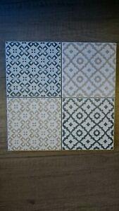 Set 4 Shabby Chic Ceramic Tile Coasters. Italian Ceramic, Felt Stoppers.