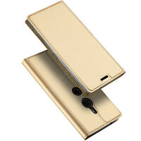 Sony Xperia XZ2 Phone Case Cover Premium PU Leather Flip+Fitted Clear Bumper New