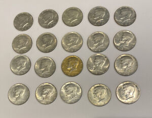 Group Of 20! 1966 1967 1968  Kennedy Half Dollar 40% SILVER Circulated