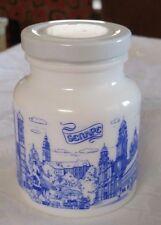 Munchen Germany Milk Glass Mustard Jar Vintage Blue White