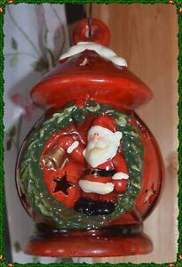 2 Weihnachtliche Windlichter Windlicht Laterne Laternen Keramik mit Aufhänger