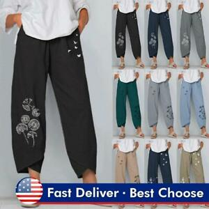 Summer Women Cotton Harem Pants Cropped Loose Bottoms Comfy Beach Long Trousers